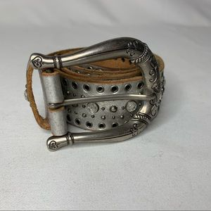Fossil Silver Leather Studded Belt Size Small